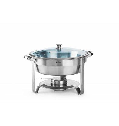 Hendi Chafing Dish mit Glasdeckel | 3,5 Liter | Ø390x(h)270mm