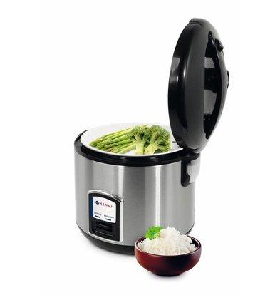 Hendi Reiskocher mit Dampfgarfunktion | 4-10 Personen | 1,8 Liter | Inkl. Meßbecher und Reislöffel