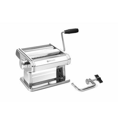 Hendi Pastamaschine 140 mm | Einstellbar 0,2–2,5mm | 3 Aufsätze