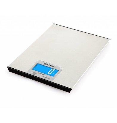 Hendi Digitale Küchenwaage | Max. 5kg | Graduierung 1g | 200x151x(h)11mm