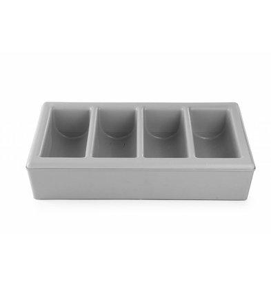 Hendi Besteckbehälter mit Unterbau 1/1GN| 4 Fächer | Grau