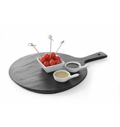 Hendi Servierplatte mit Griff | Melamin Schieferfarbe | 424x300x(h)15mm