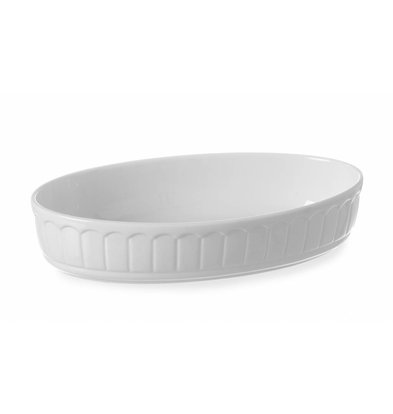 Hendi Auflaufform Rustica Oval | Porzellan Weiß | 245x145x(h)55mm