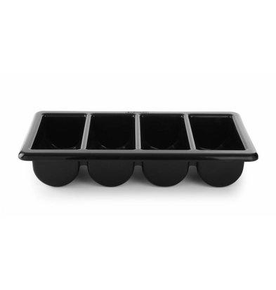 Hendi Besteckbehälter Schwarz | 4 Fächer | 530x325x(h)100mm