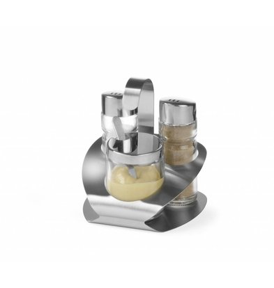 Hendi Menage 3-Teilig   Pfeffer-Salz-Senf   100x95x(h)115mm