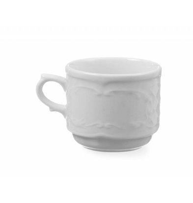 Hendi Cappuccinotasse Flora | Porzellan Weiß | 250mm