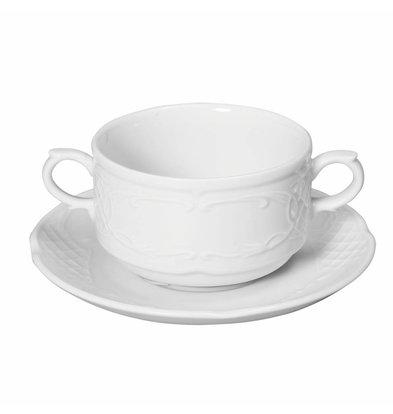Hendi Untertasse für Suppentasse Flora | Porzellan Weiß | Ø158mm
