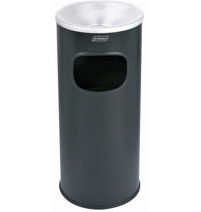 XXLselect Abfalleimer mit Aschenbecher Schwarz | Innenbehälter 30 Liter | Feuerhemmend | 250x250x650mm