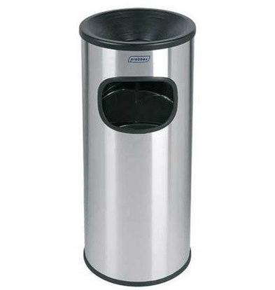 XXLselect Abfalleimer mit Aschenbecher Edelstahl | Innenbehälter 30 Liter | Feuerhemmend | 250x250x650mm