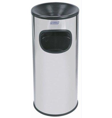 XXLselect Abfalleimer mit Aschenbecher | Gebürsteter Edelstahl | Innenbehälter 30 Liter | 250x250x650mm