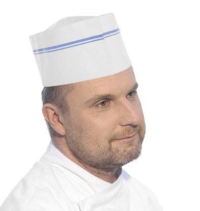 Hendi Küchenmütze Papier   Weiß-Blau gestreift   100 Stück