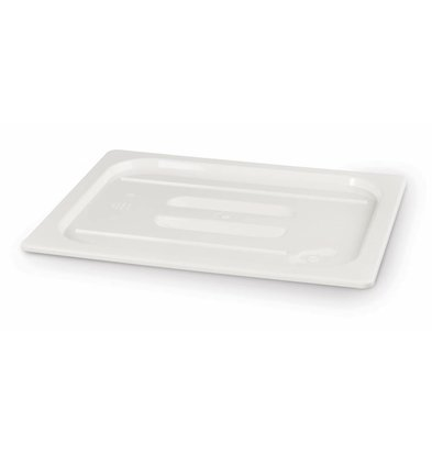 Hendi Polycarbonat Deckel Weiß | Ohne Löffelaussparung | GN 1/2