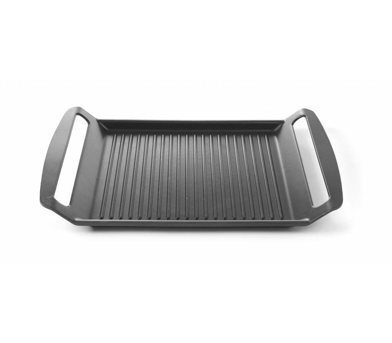 Hendi Aluminium Grillplatte | Geeignet für Induktionskochplatten | Anti-Haft Beschichtung 390x260x(h)35mm