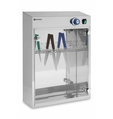Hendi UV Sterilisierschrank für 14 Messer | Timer bis 60 Minuten | 510x160x(h)610mm