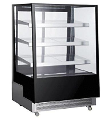 Hendi Kühlvitrine Schwarz |  3 Glasböden | LED Beleuchtung | Erhältlich in 3 Größen