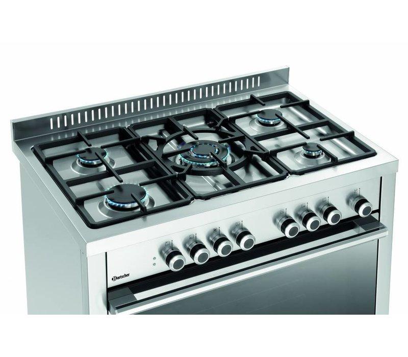 Bartscher Gasherd mit Elektrobackofen | 11,3 kW | 5 Kochstellen | 900x600x(h)900mm