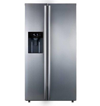 Exquisit Side-by-Side Kühlschrank | Inkl. Eisdispensser | Kühlen 349L/Frieren 219L | 900x750x1790(h)mm
