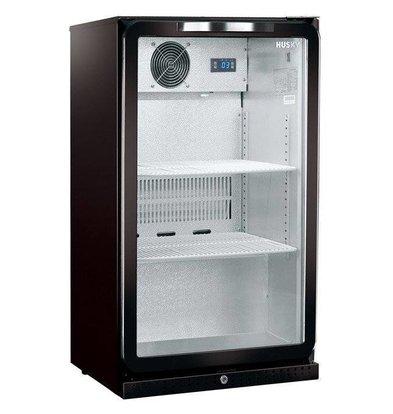 Husky Barkühlschrank  mit Glastür Schwarz | Intelligenzia 112 Liter | LED Beleuchtung | 555x495x865(h)mm