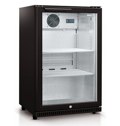 Husky Barkühlschrank  mit Glastür Schwarz | 112 Liter | Zwangsluftkühlung | 555x495x865(h)mm