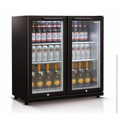 Husky Barkühlschrank  Doppeltürig Schwarz | 186 Liter | LED Beleuchtung |  865x520x865(h)mm