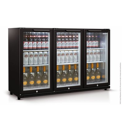 Husky Barkühlschrank  3-Türig Schwarz | 301 Liter | LED Beleuchtung | 1350x520x865(h)mm