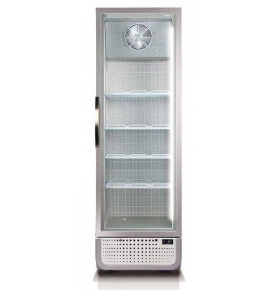 Husky Gefrierschrank mit Glastür 378 Liter | Weiß/Silber | LED Beleuchtung | R290a | 650x719x1985(h)mm