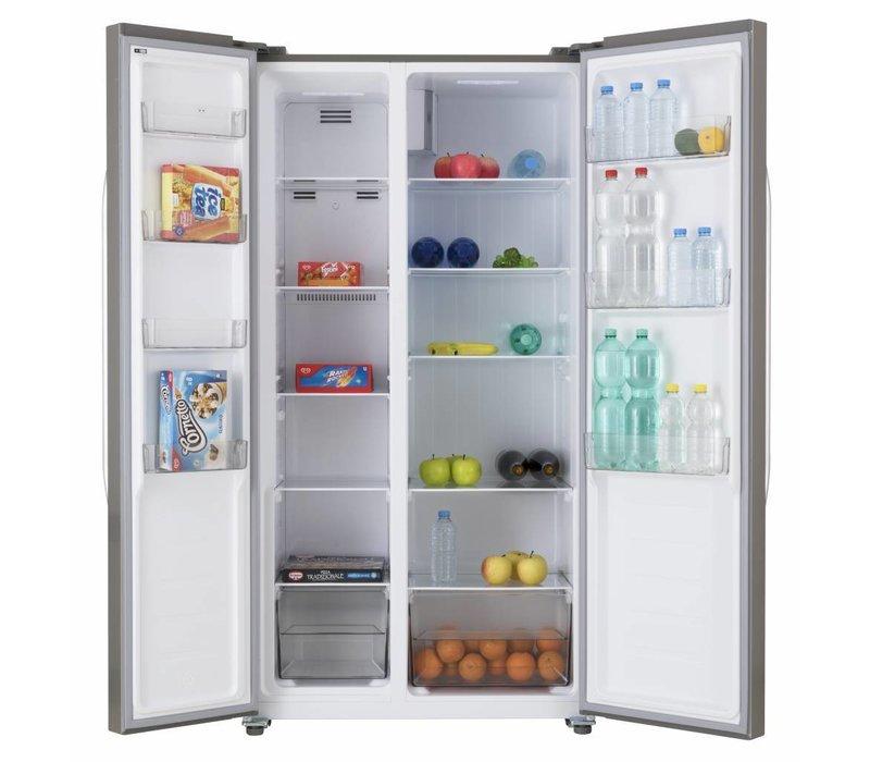 Frilec Amerikanischer Kühl Gefrierschrank Edelstahl | 291 + 138 Liter |  Energieklasse A+ | 900x590x1770