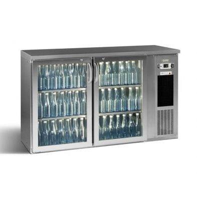 Gamko Flaschenkühlung 2-Türig Chrom | Gamko E3 / 22GMUCS | 344 Flaschen 33cl. | 364L | ECO-Line | 1434x492x (h) 840 / 860-880 mm
