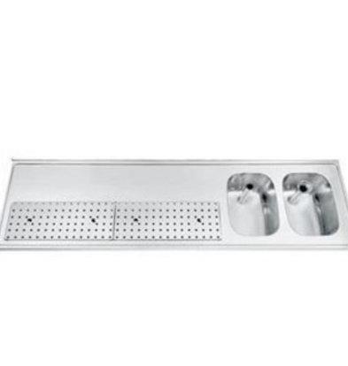 Gamko Buffet  Spülbecken  aus Edelstahl + 2 Waschbecken rechts Gamko PR-BB2002R | Rundes Motiv | 550x2000mm |  FI-Line