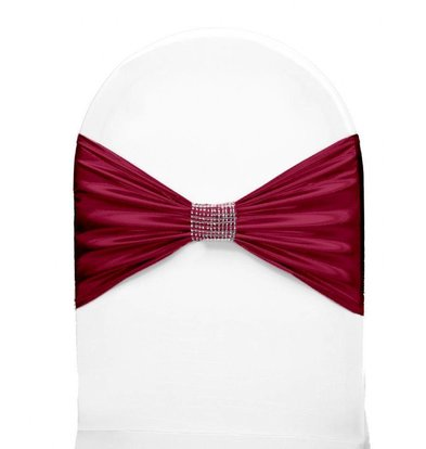 Unicover Stuhlband mit Silberband | Eine Größe | Bordeaux