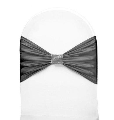 Unicover Stuhlband mit Silberband | Eine Größe | Grau