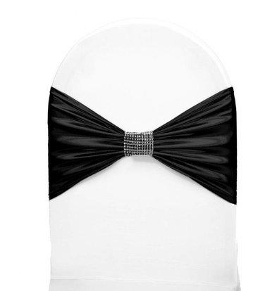Unicover Stuhlband mit Silberband | Eine Größe | Schwarz