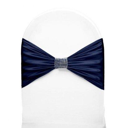 Unicover Stuhlband mit Silberband | Eine Größe | Dunkelblau