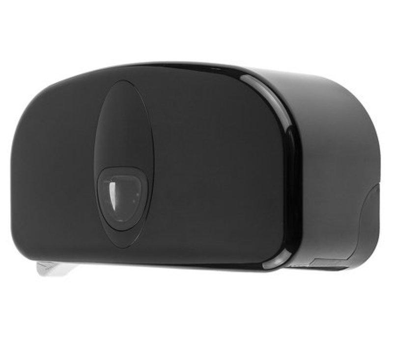 PlastiQline 2 Rollenhalter Kunststoff schwarz | Geeignet für 2x Tubelose Rollen Ø 145 mm x B 100 mm