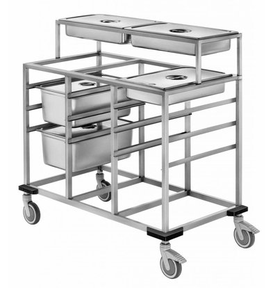 Mobile Containing Speisenausgabewagen 3 x 1/1 GN + Abnehmbarer Aufsatz 2 x 1/1 GN | Mobile Containing | 590x730x910(h)mm
