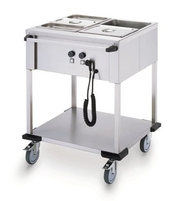 Mobile Containing Bain-Marie Wagen 2 x 1/1 GN | Mobile Containing | 2x 850W | Bedienung lange Seite | 702x631x902mm