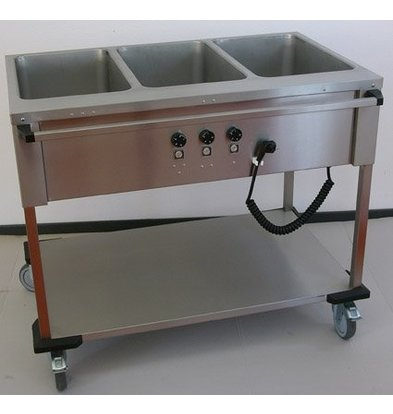 Mobile Containing Bain-Marie Wagen 3 x 1/1 GN | Mobile Containing | 3x 850W | Bedienung lange Seite | 560x1111x902mm