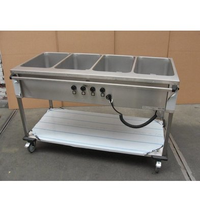 Mobile Containing Bain-Marie Wagen 4 x 1/1 GN | Mobile Containing | 4x 850W | Bedienung lange Seite | 560x1449x902mm