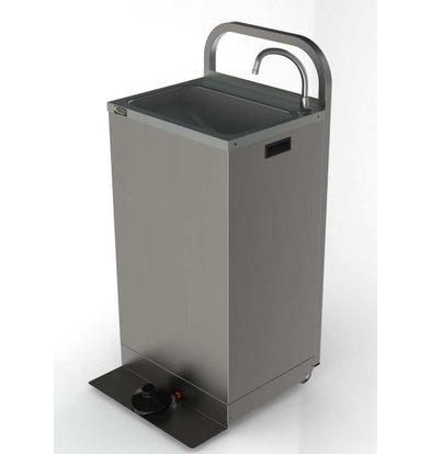 XXLselect Mobiles Hanwaschbecken Edelstahl   mit Fußbedienung  Inkl. 2x 13 Liter Kanister