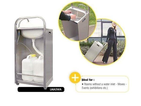 XXLselect Mobiles Handwaschbecken Edelstahl | mit Fußbedienung| Inkl. 2x 13 Liter Kanister