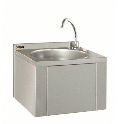 Sofinor Edelstahl Handwaschbecken | Kniebedienung | mit Mischbatterie | Ohne Rückwand | 384x353x287mm