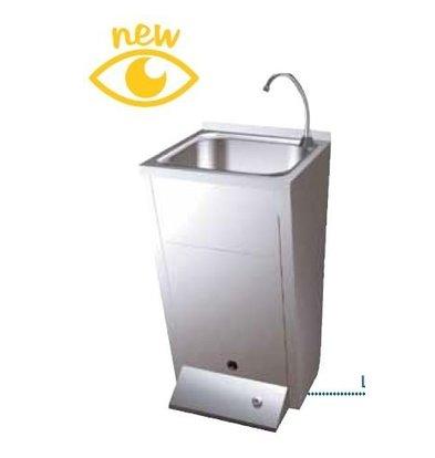 Sofinor Edelstahl Handwaschbecken | Fußbedienung | mit Abfallbehälter | Premix Warm/Kalt | 450x450x(h)900mm