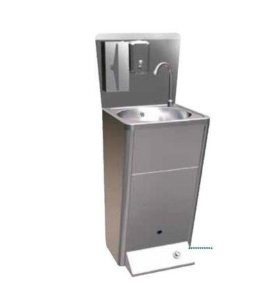 Sofinor Edelstahl Handwaschbecken Deluxe | Fußbedienung | mit Abfallbehälter+ Seifenspender | 450x450x900mm