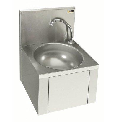 Sofinor Edelstahl Handwaschbecken | Kniebedienung | Vormischhahn | Wassersparend | 384x353x(h)524mm