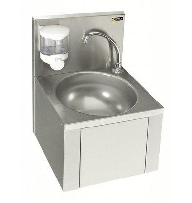 Sofinor Edelstahl Handwaschbecken | Kniebedienung | Ohne Vormischhahn  | mit Seifenspender | 384x353x(h)524mm