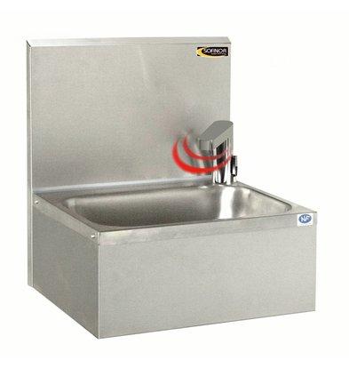 Sofinor Edelstahl Handwaschbecken |  Elektronischer Wasserhahn auf Akku | Temperaturregelung | 460x380x(h)524mm