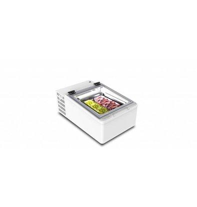 Framec Speiseeisvitrine Tischmodell | Geeignet für 2x5 Liter Behälter | 49x79x(h)34,5cm