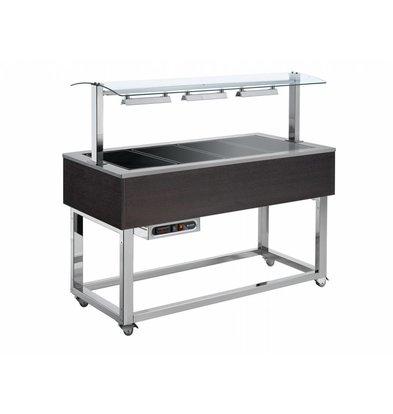 Afinox Buffetwagen Warm | Keramische Platten | 3x 1/1 GN | Afinox | Wenge Farbe | 116,9x76x(h)132,6cm