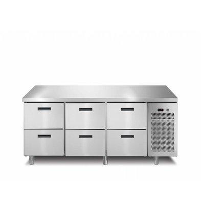 Afinox Kühltisch 6 Schubladen | 172,1x70x(h)90cm