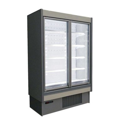 Oscartielle Wand-Tiefkühlregal | Aluminium Weiß | Klapptüre aus Glas | Steckerfertig | Erhältlich in 2 Größen